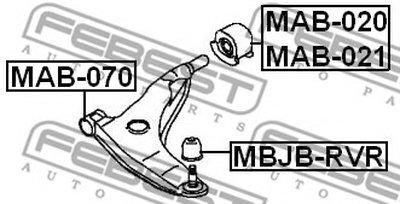 Сайлентблок переднего рычага передний LANCER/MIRAGE CK 95-00 FEBEST MAB070