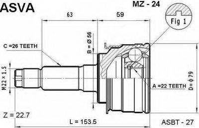 ШРУС НАРУЖНЫЙ 22X56X26 (MAZDA 323 BA 1994-1998)