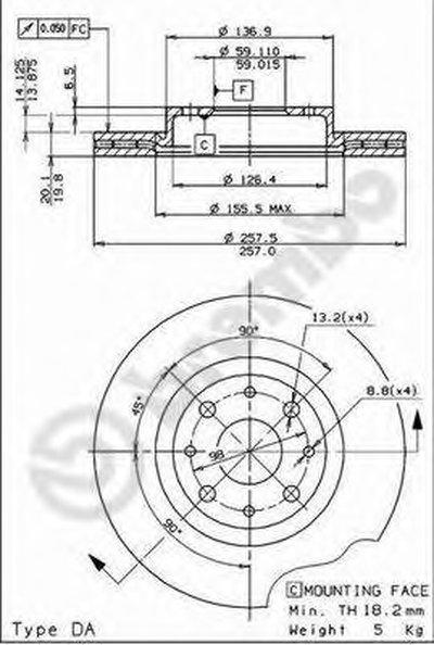 BREMBO 09587014 Тормозной диск