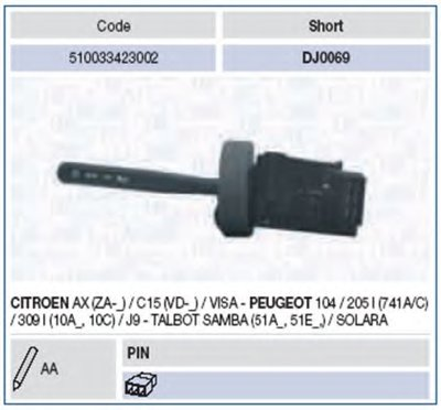 Выключатель на колонке рулевого управления MAGNETI MARELLI купить