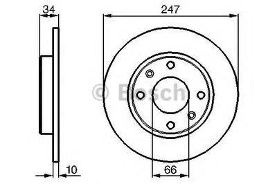 BOSCH 0986478046 Тормозной диск передний CITROEN; PEUGEOT 106; 205; 206; 306; 309; 405; C 15; Saxo; Visa; ZX