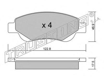 Комплект тормозных колодок, дисковый тормоз TRUSTING купить