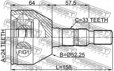 Шрус Наружный 24X52 25X33 FEBEST 1810Z18 для авто  с доставкой-1