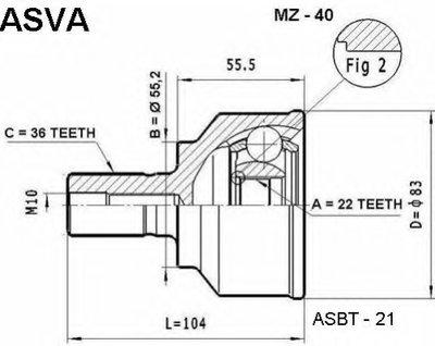 ШРУС НАРУЖНЫЙ 22x55.3x36 (MAZDA 3 BK 2003-)