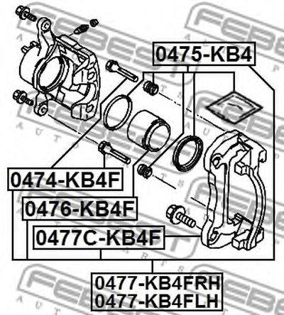 0474KB4F FEBEST Направляющий болт, корпус скобы тормоза -1