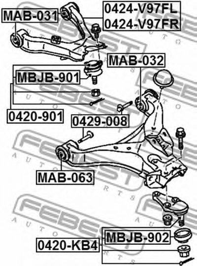 Сайлентблок переднего верхнего рычага PAJERO III MONTERO V65W/V75W 00-06 FEBEST MAB031-1