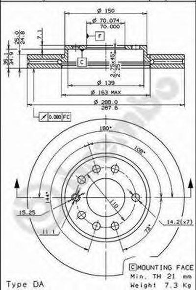 Диск тормозной передний вентилируемый OPEL Vectra B (J96) / SAAB 900, 9-3, 9-5 BREMBO 09699711 для авто OPEL, SAAB с доставкой
