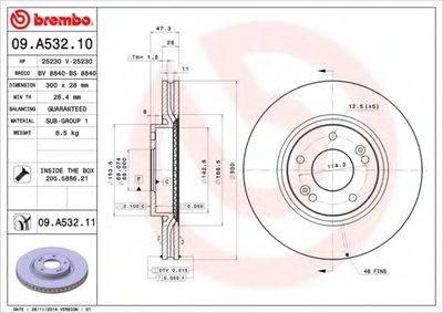 BREMBO 09A53210 Тормозной диск вентилируемый