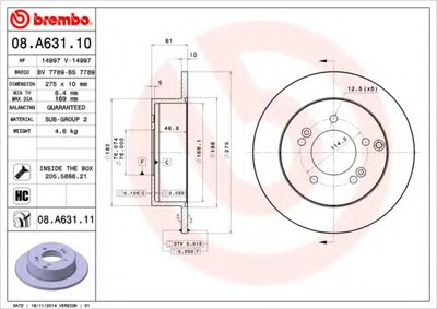 BREMBO 08A63110 Тормозной диск