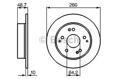 BOSCH 0986479225 Тормозной диск задний HONDA Civic 2.0 Type R Hatchback/ VSA Hatchback [EU/EP] 09.2001-12.2005