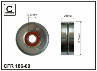 (76x17x24 метал) Ролік паска руч. Audi 100 2.4D/2.5TDI 90-94 CAFFARO 18600 для авто  с доставкой