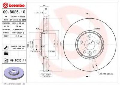 BREMBO 09B02511 Тормозной диск