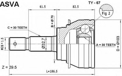 ШРУС НАРУЖНЫЙ 30X70X30 (TOYOTA LAND CRUISER PRADO 120 2002-)