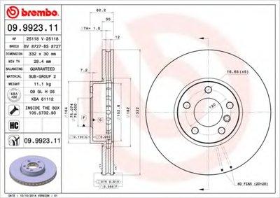 BREMBO 09992311 Тормозной диск вентилируемый