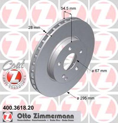 Диск гальмівний перед MB W211 20/24/22CDI/27CDI 02 ZIMMERMANN 400361820 для авто MERCEDES-BENZ с доставкой
