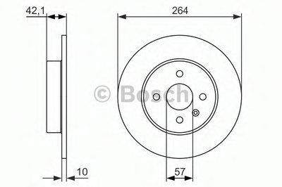 BOSCH 0986479961 Тормозной диск задний OPEL Astra; Combo; Corsa; Meriva _ Astra H 09.2005>, Combo [Tour]10.2001>,Co