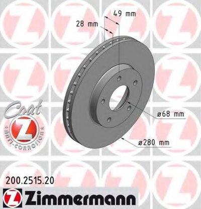 Торм.диск Пер.вент.280X28 5 Отв.min2 Coat Z ZIMMERMANN 200251520 для авто NISSAN с доставкой